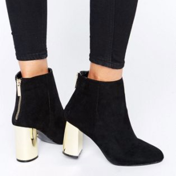 Suede Becki Gold Block Ankle Boots Size
